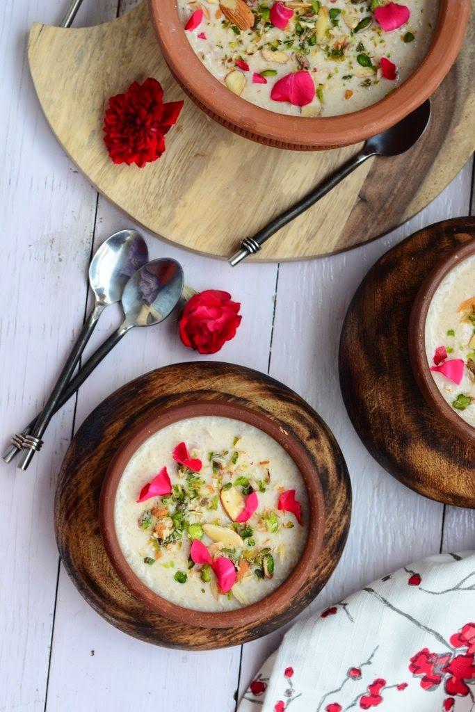 Gulab Phirni / Rose flavored Rice Pudding #Diwali #recipe #indian #sweet #dessert #Rice pudding