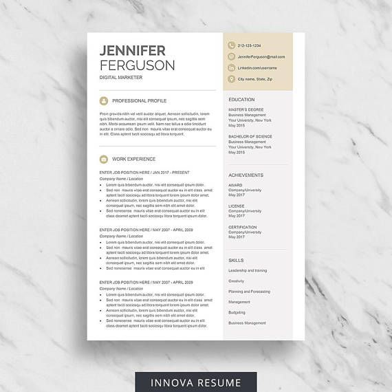 Modern Resume Template for Word One Page Resume Design Two Page