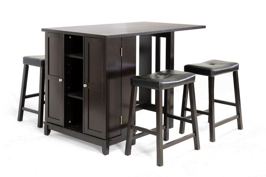 Aurora 5-Piece Dark Brown Modern Pub Table Set with Cabinet Base ...