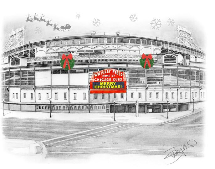 Wrigley Field Chicago Cubs Christmas card with Santa's sleigh ...