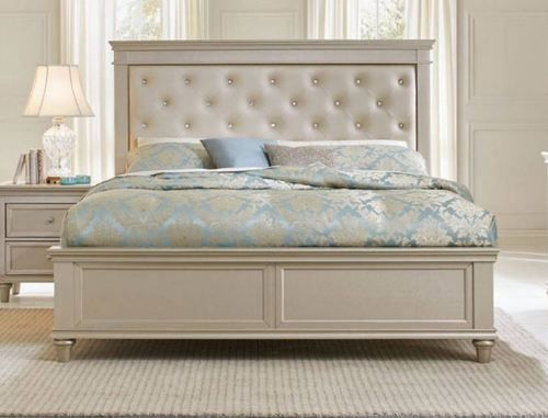 Homelegance Celandine Pearl Queen Size Bed 1928 1 Upholstered