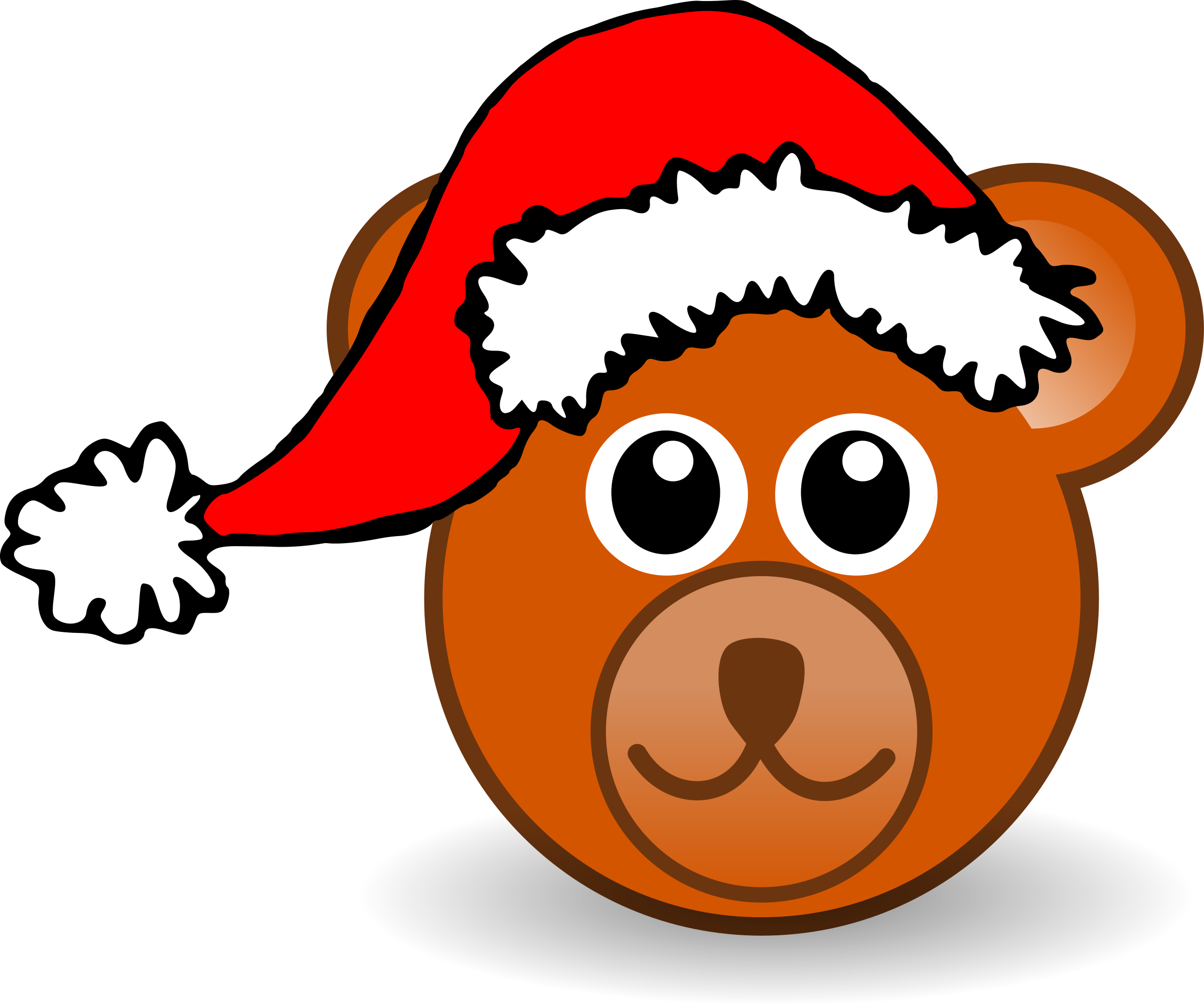 Funny teddy bear face brown with Santa Claus hat Pattern