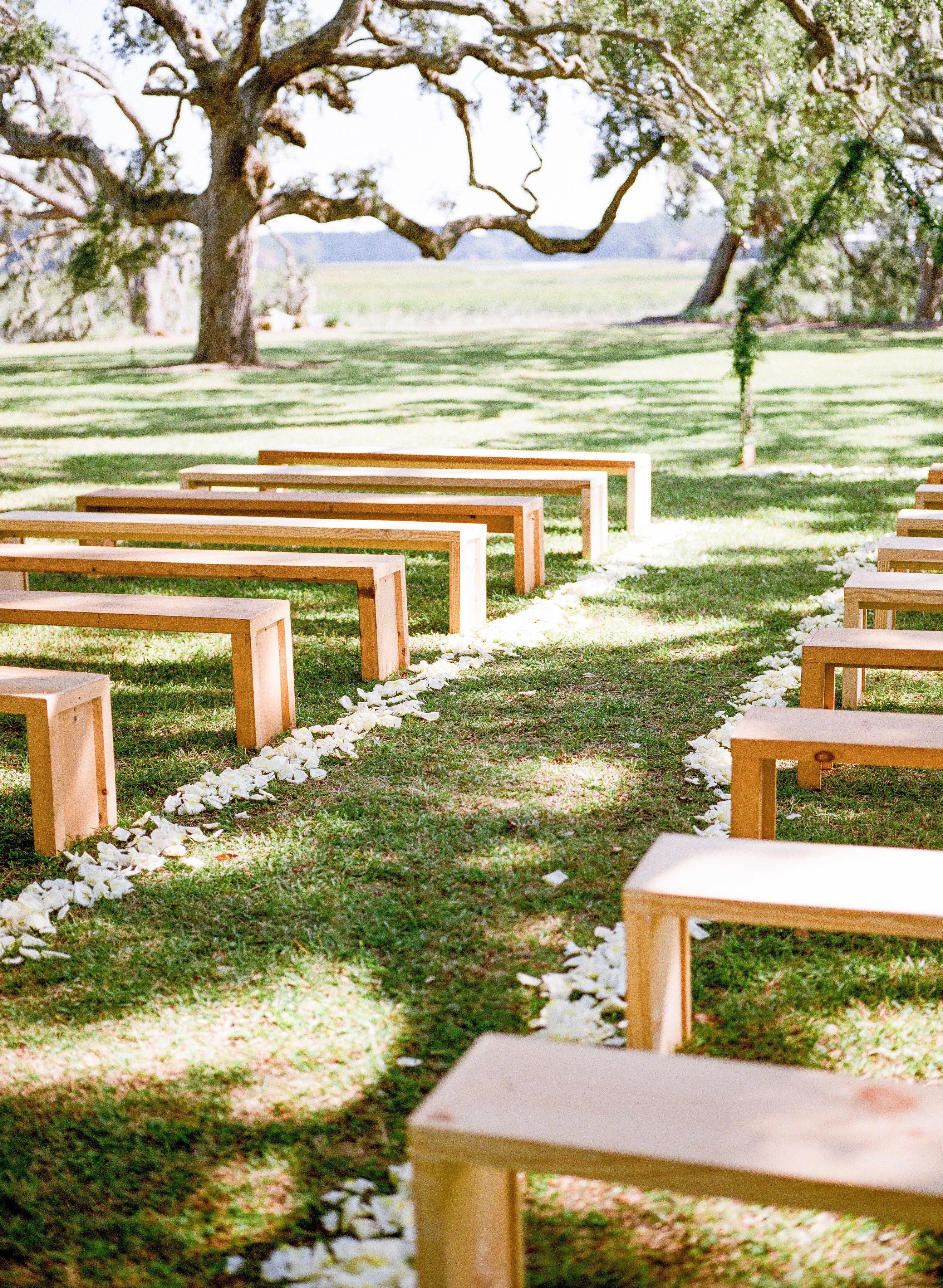 Natural Cypress Benches Wedding Rentals Charleston