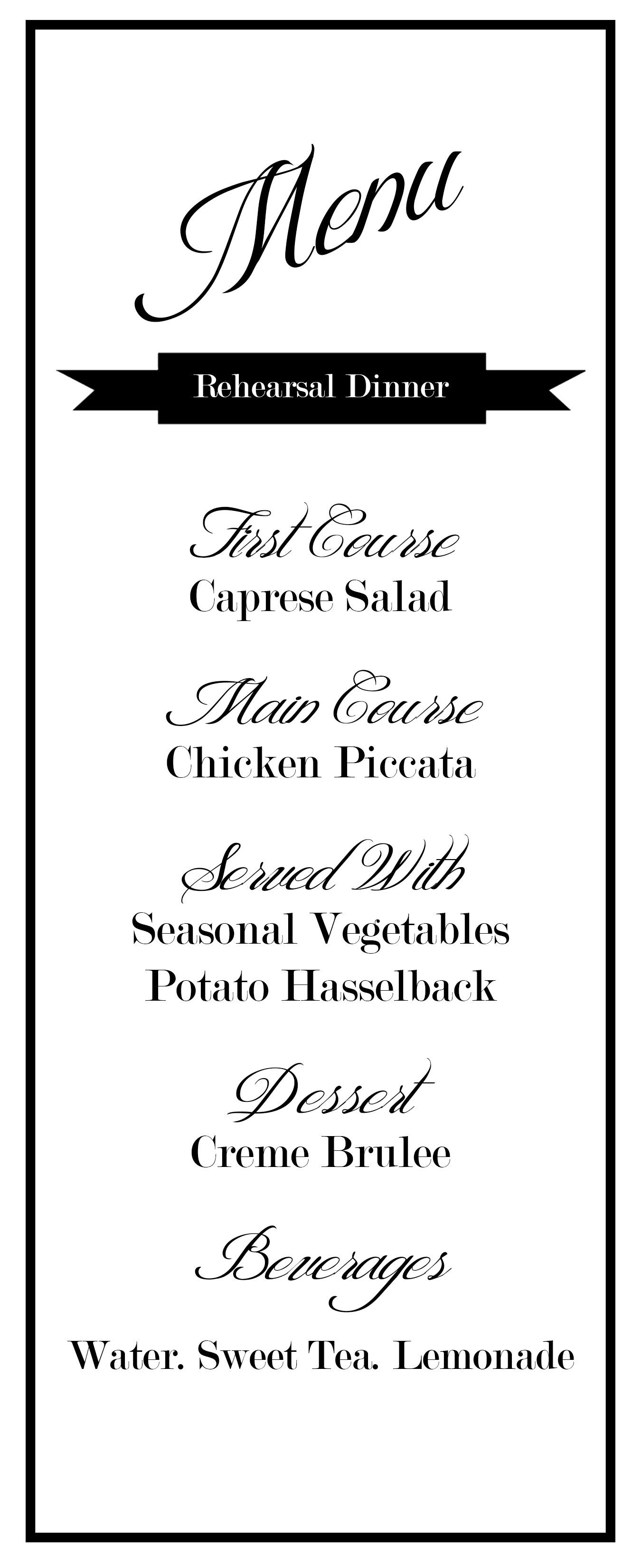 simple menu design for any special occasion or corporate event