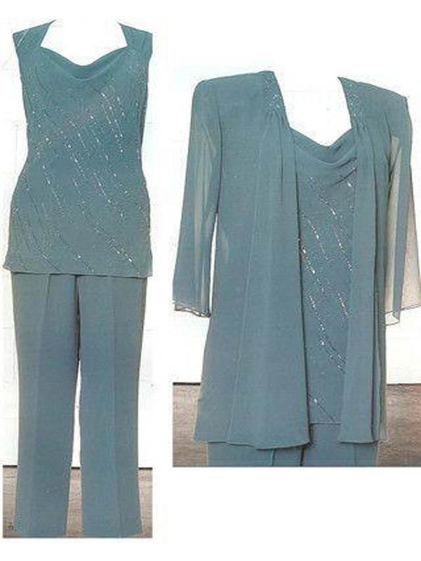 Ink Blue Mother of the Bride Pant Suits Chiffon Plus Size Pant ...