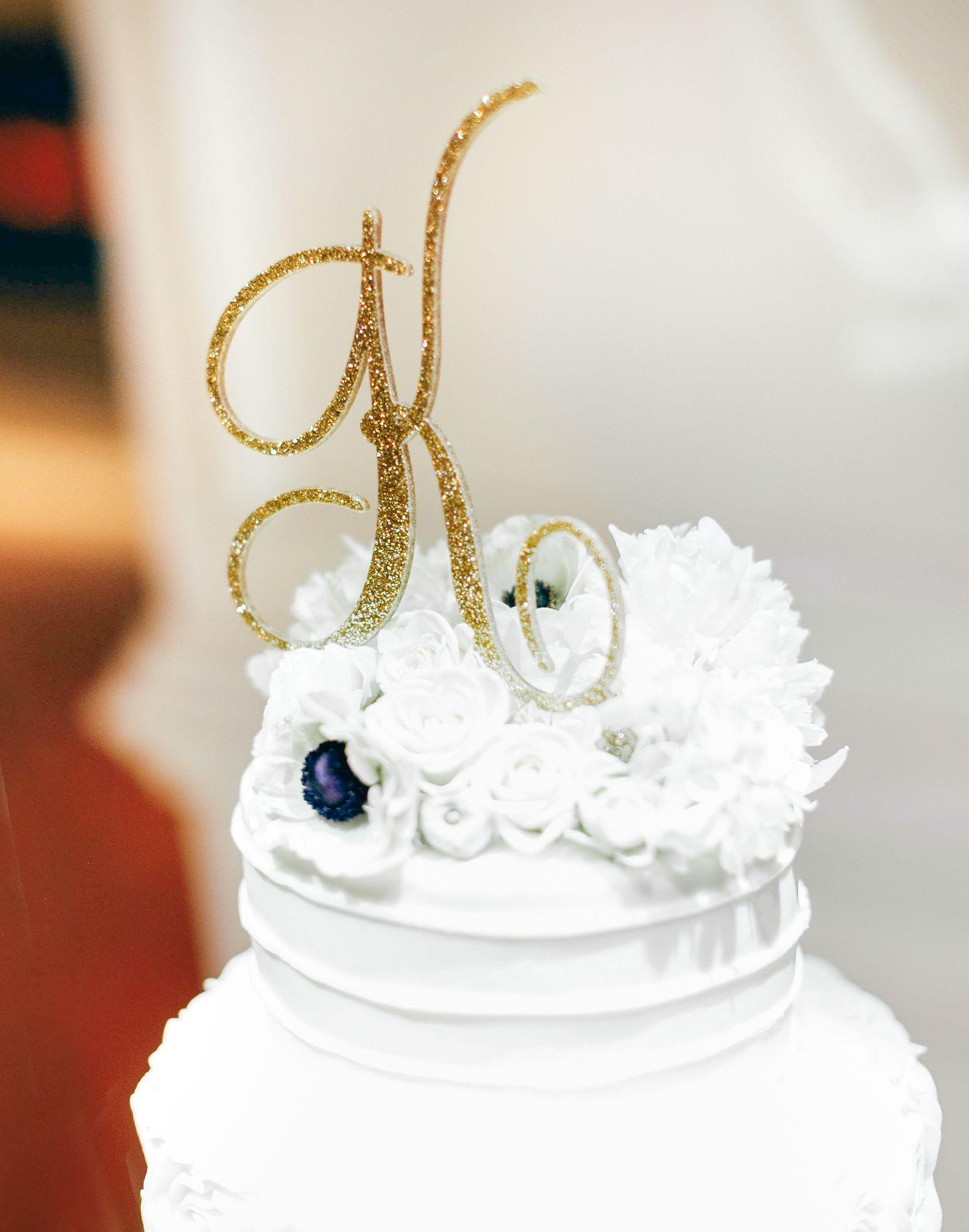 Wedding Cake Topper Letter Monogram in Glitter Gold or Custom, Party ...