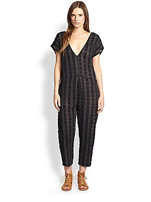 Ace Jig Flocked Square Patterned Voile Jumpsuit Jump Around