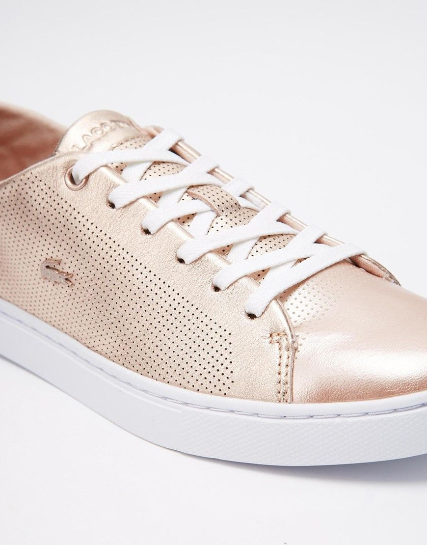 bad9b7a3390 Lacoste - Showcourt 2 - Baskets en cuir à lacets - Or rose