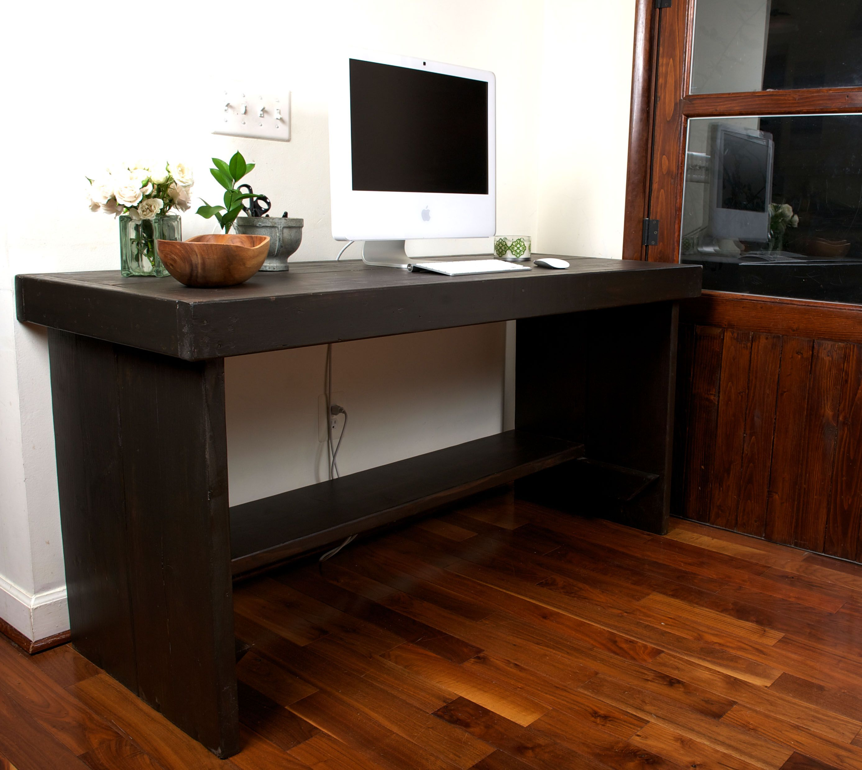 use furniture with table wood drawers computer shelves for solid office foot home desk