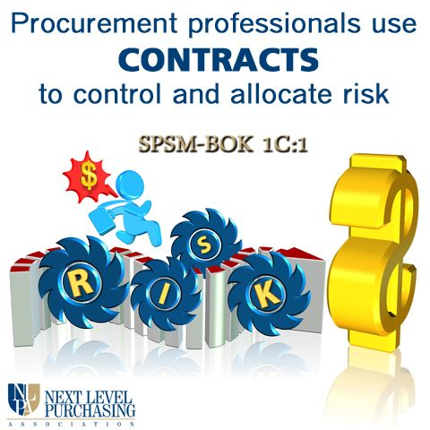 How does a procurement professional control and allocate risk in - contract management