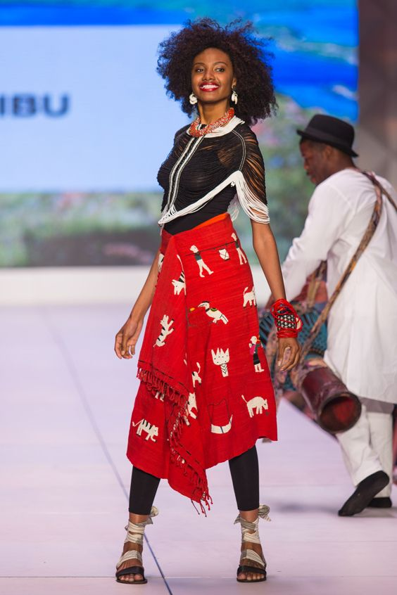 ibu Movement Runway Collection | Dinka Beaded Corset with Myanmar Story Cloth Skirt