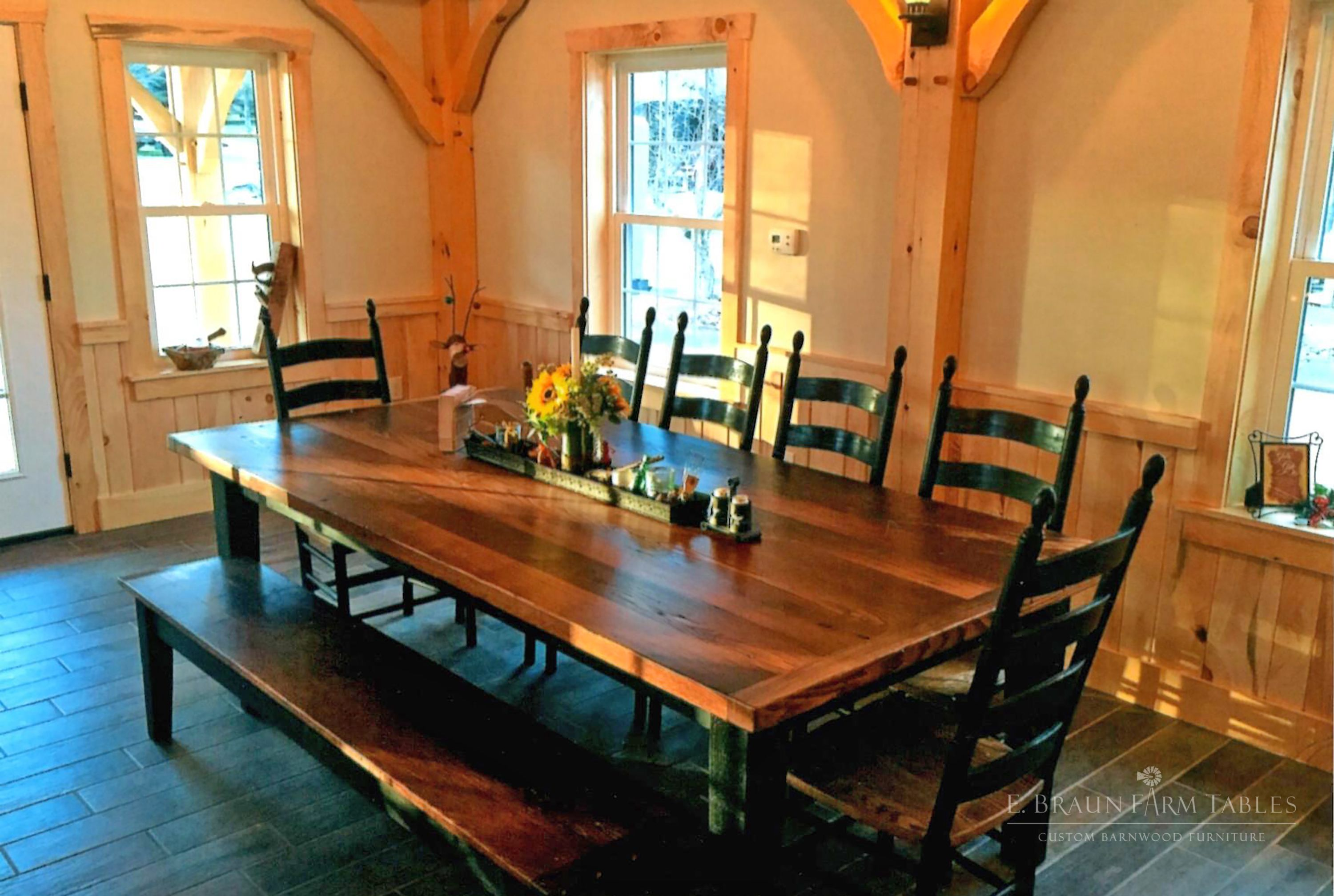 Consider This Large X Reclaimed Chestnut Top Table With A Painted Pine Base    All Handcrafted Using Reclaimed Barn Wood. Shaker Ladder Back Chairs, ...