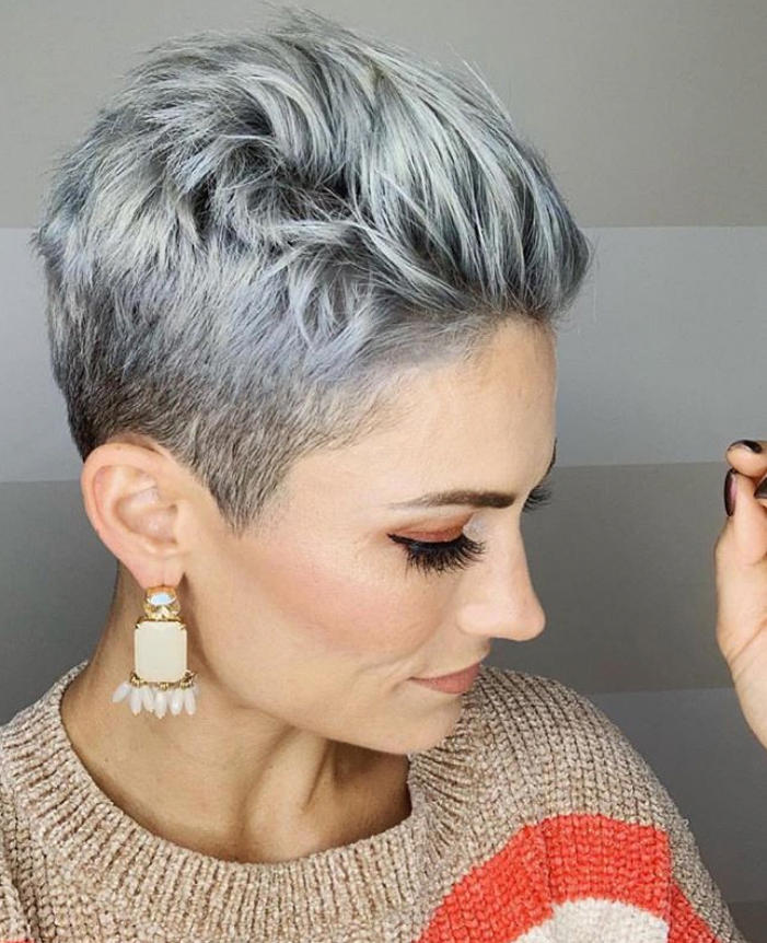 Short White Pixie Haircut Short Haircut Ideas White Pixie Haircut Ash White Hair Color Short Hair In 2020 White Hair Color Hair Color Grey Silver Thick Hair Styles