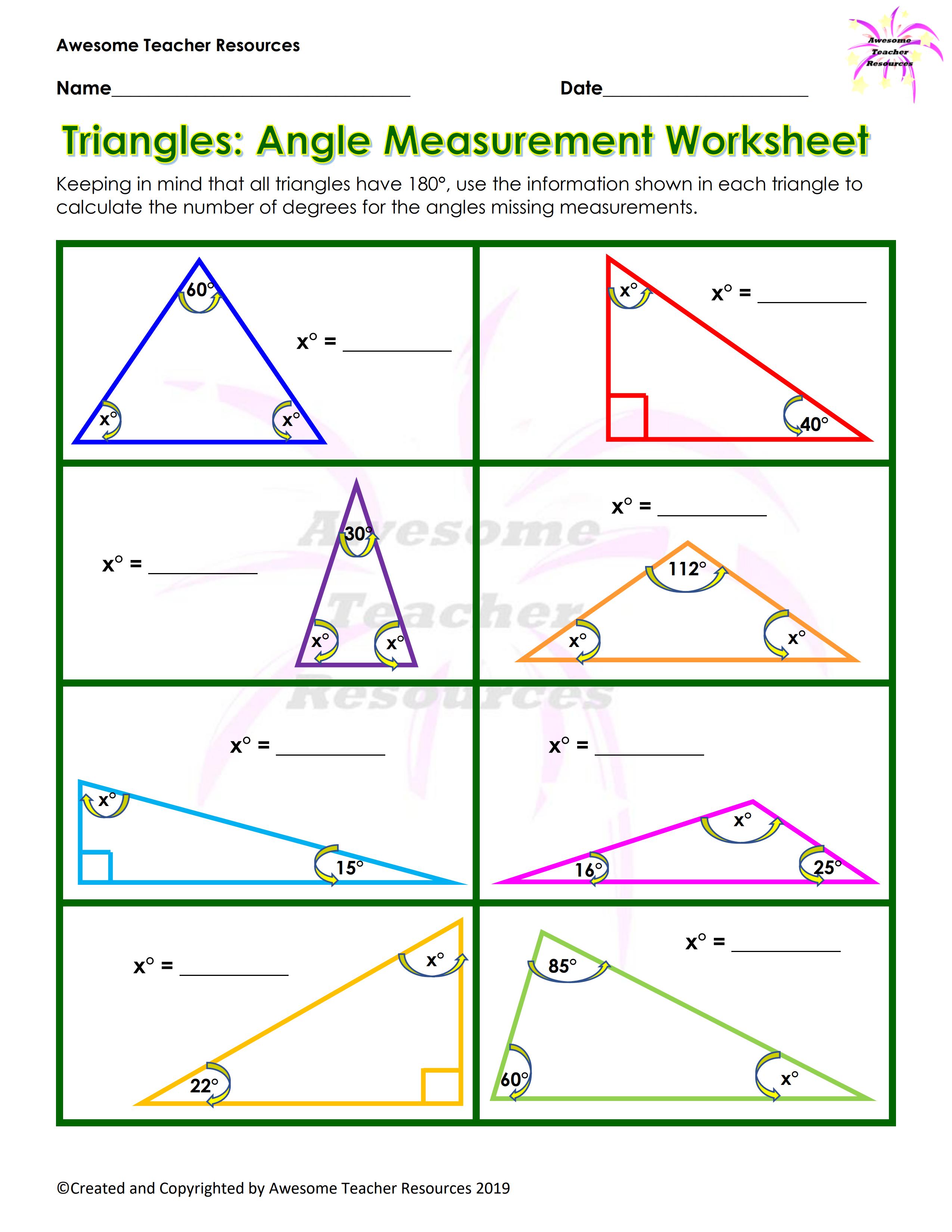 Triangles Angle Measurement Worksheet Measurement Worksheets Measuring Angles Worksheets