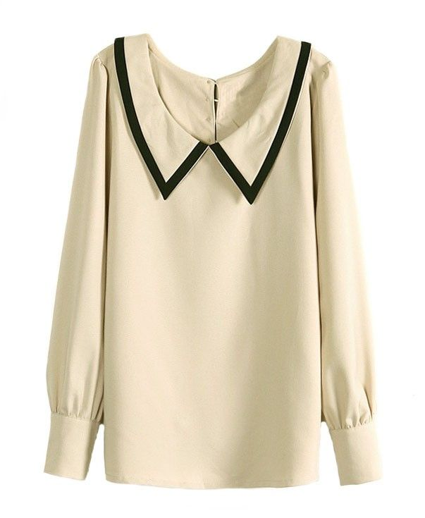 Retro Contrast Color Point Collar Blouse - Clothing