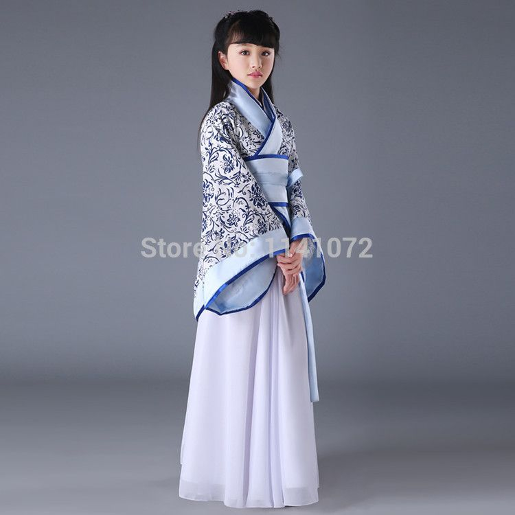 6a8f076a4 High Quality Chinese Child Costume Hanfu Clothes Blue and White Children  Clothes of Tang Dynasty Costumes Kids Ancient Clothes-in Chinese Folk Dance  from ...