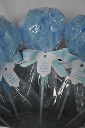 Baby Shower Favor Bath Puff Lollipop with Tag  Blue and White
