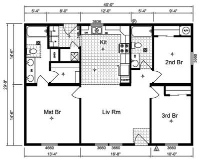 24 x 48 floor plans 24 x 48 approx 1152 sq ft 3 bedrooms 2 baths all ranch floorplans floor plans pinterest floor plans bath and floors