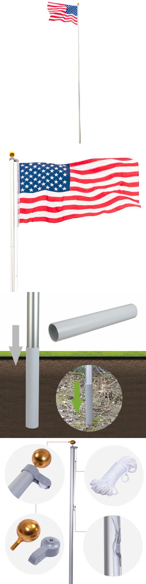 Flag Poles And Parts 43536 Flagpole Kit Aluminum Halyard 25ft Sectional 1pc Us American Flag Durable Garden Buy It Now On American Flag Flag Pole Sectional