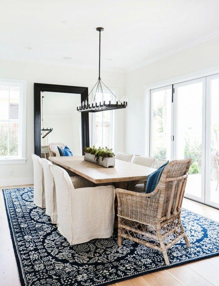 Esszimmer Einrichten Landhausstil Schöner Teppich Cooler Leuchter