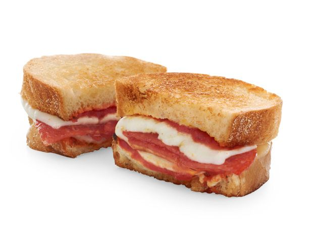 Pizza Grilled Cheese: Spread 2 slices Italian bread with marinara sauce and sandwich with 1 slice provolone, 2 slices pepperoni and 1 slice mozzarella. Cook in a mixture of butter and olive oil.