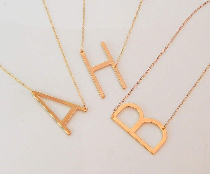 etsy large letter initial necklace big initial necklace oversized alphabet letter charm sideways in