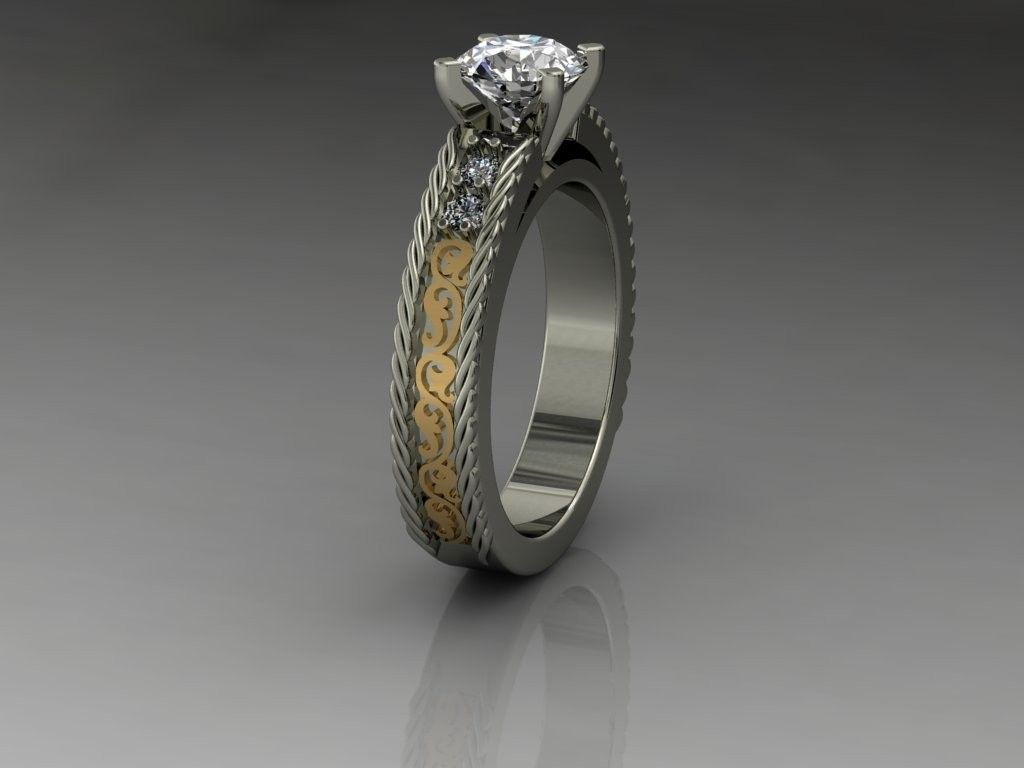 14kt Ladies Two Tone Western Style Ring Western Wedding Rings Country Engagement Rings Engagement Ring Photography