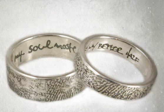 Items Similar To Fingerprint Wedding Rings Set Of 2 Sterling Allover Fingerprint Rings H Wedding Ring Inscriptions Engraved Wedding Rings Fingerprint Wedding