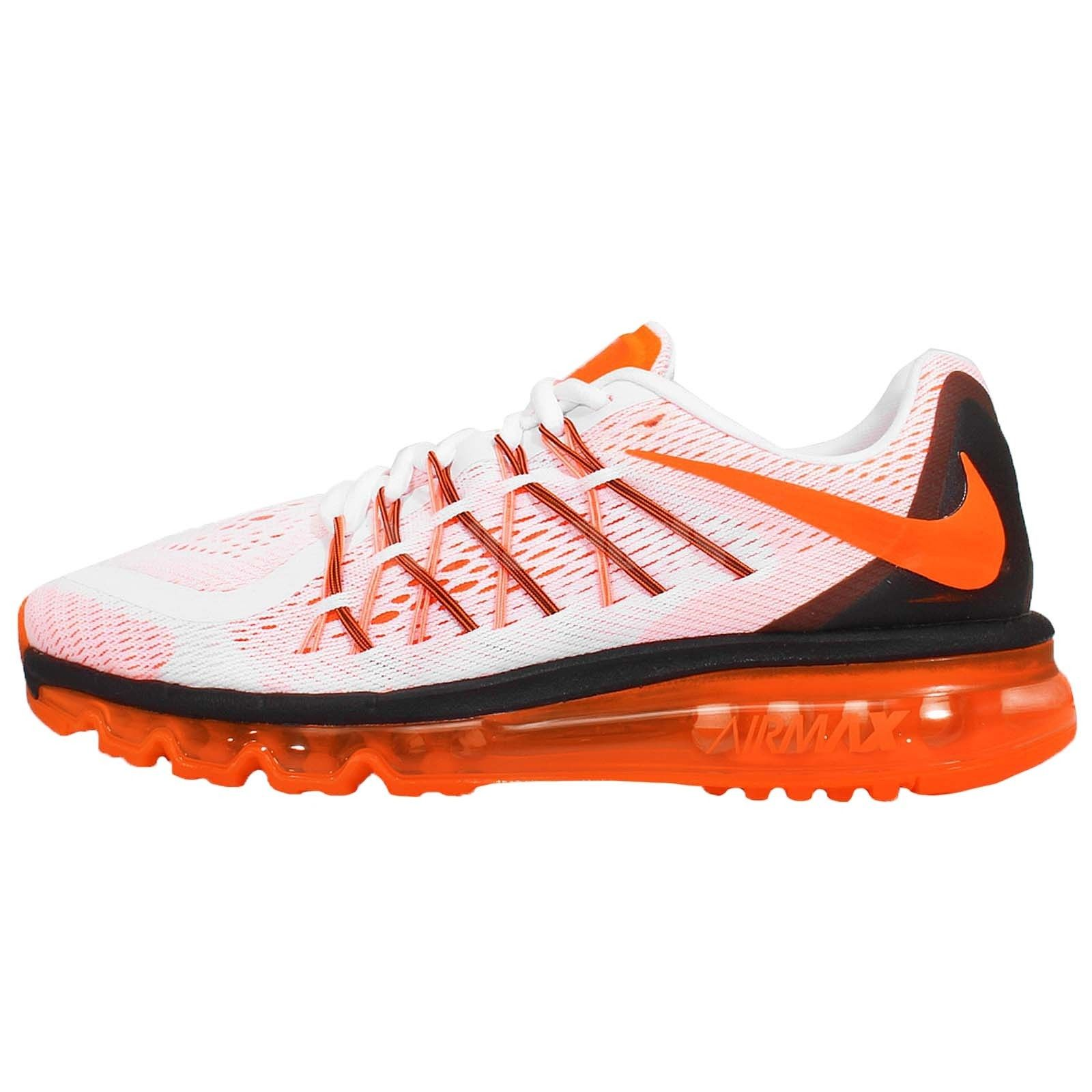 Nike Air Max 2015 Mens Running Shoes White Total Orange-Black 698902 ... 49cd93577cd2
