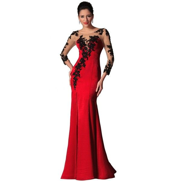eDressit New Red Sheer Top Lace Long Sleeves Evening Prom Gown... ($54) ❤ liked on Polyvore featuring dresses, gowns, red cocktail dress, red evening gowns, long sleeve lace gown, long sleeve prom dresses and white lace gown