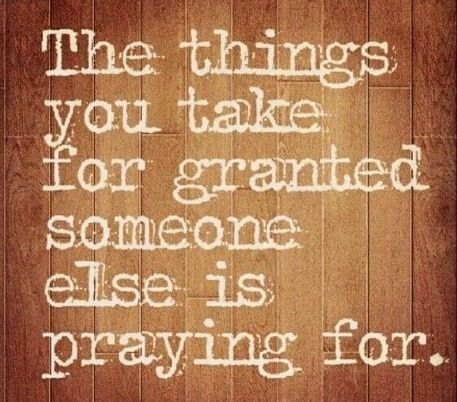 A thought to make us think and give thanks...