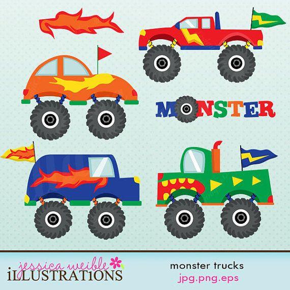 Sale Monster Trucks Cute Digital Clipart For Commercial And Etsy Monster Trucks Digital Stamps Monster Truck Drawing