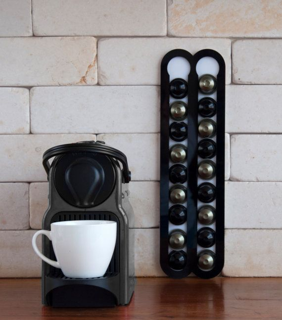 Charming Black Coffee Holder Holds Capsules 20 Nespresso Pods Kitchen Storage  Magnetic Coffee Nespresso Pod Stand Kitchen