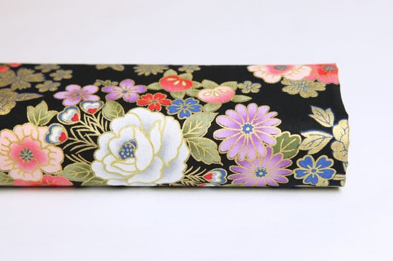 Japanese fabric golden flowers black background