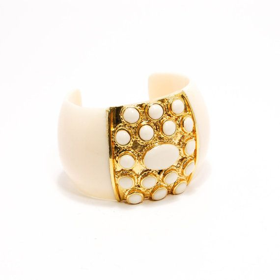 Wide Ivory Celluloide Cuff Bracelet with Gold Tone Accents Etruscan Bohemian Chic 1970s Style