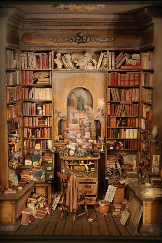 Miniature Dollhouse Library Terrific Staging David