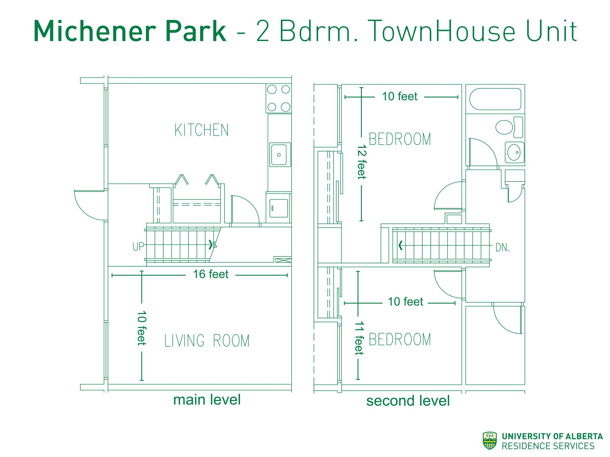 Floorplan with dimensions for twobedroom townhouse units