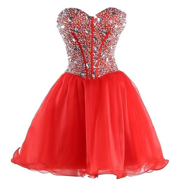 MerMaid Women's Party Gala Dance Homecoming Dress Color Red Size 2 at... ($24) ❤ liked on Polyvore featuring dresses, red, short dresses, red party dresses, red dress, short homecoming dresses and going out dresses