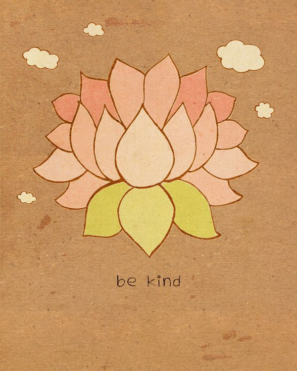 Home and Dorm Room Decor Modern Zen Wall Art - Be Kind 8x10 - Lotus ...