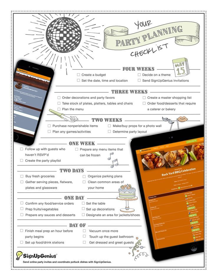 Printable Party Planning Timeline And Checklist A Guide To Organizing Your Next Potluck Family
