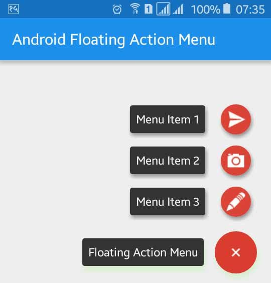 Android Floating Action Menu Example Application Android