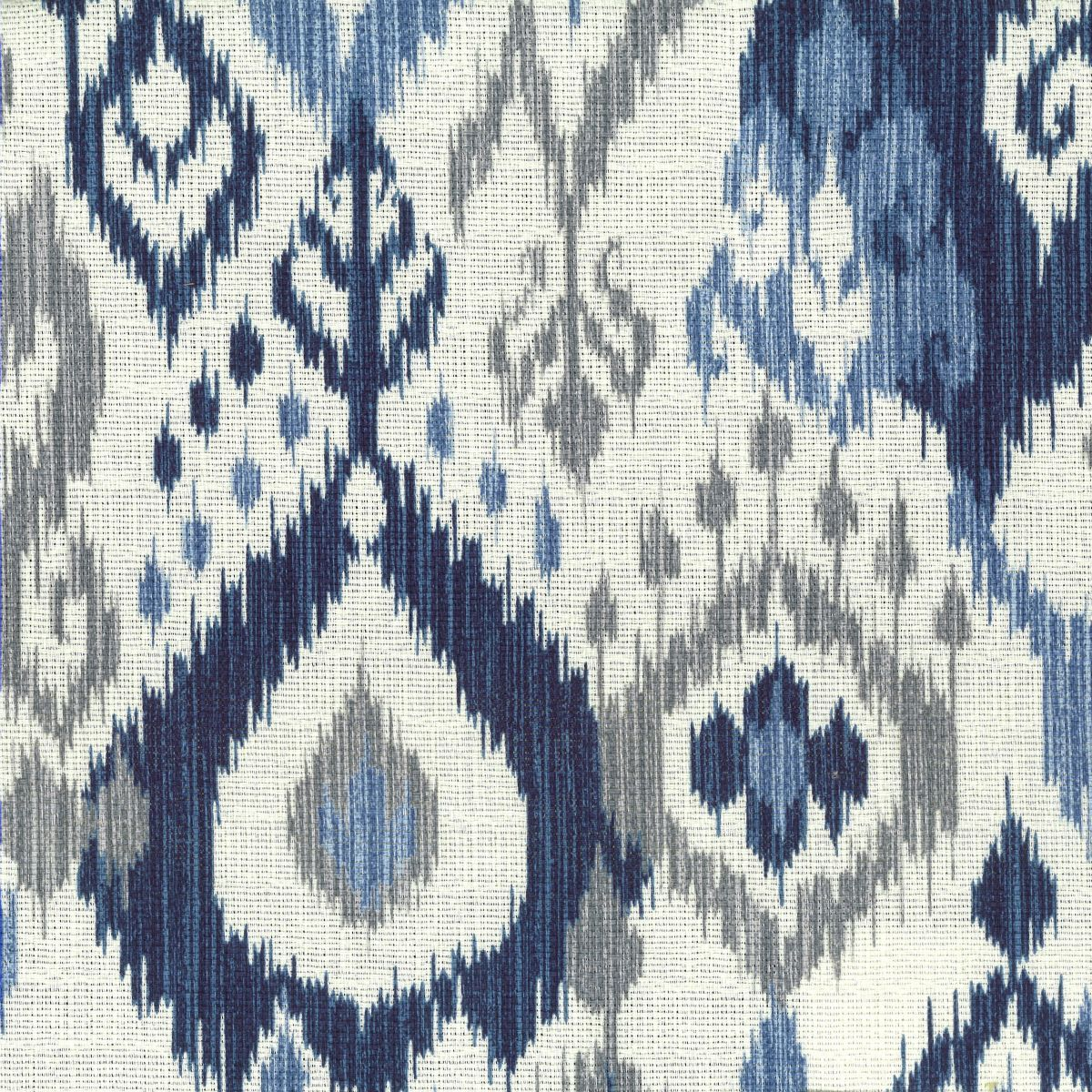 Navy ikat with light blue gray cream by stout swelter for Space curtain fabric