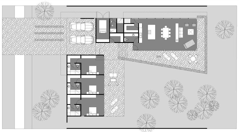 Diseño de casa en forma de L con moderna fachada y decoración de