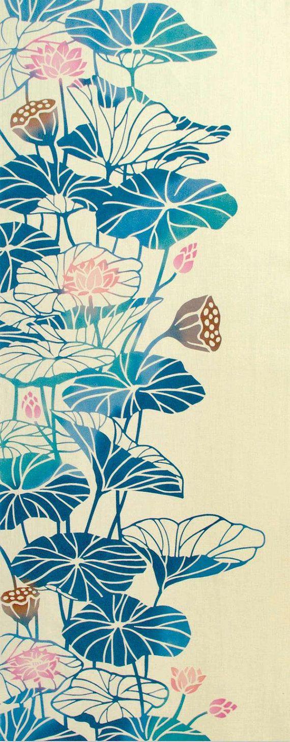 Japanese Tenugui Cotton Towel Fabric Lotus by JapanLovelyCrafts
