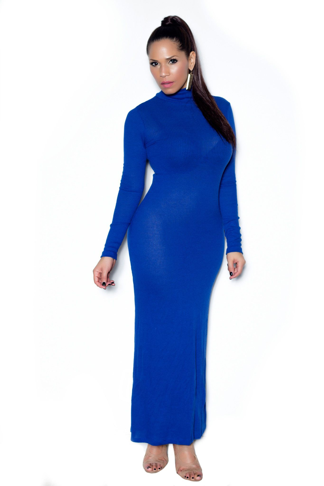 7be66a43 Royal Blue Ribbed Turtle Neck Long Sleeved Maxi Dress | Bodycon ...