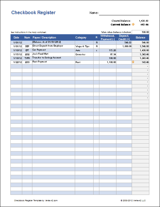 A simple (and free) checkbook register for Excel.   EXCEL HELP ...