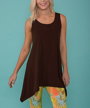 Loving this Brown Sleeveless Sidetail Tunic on #zulily! #zulilyfinds