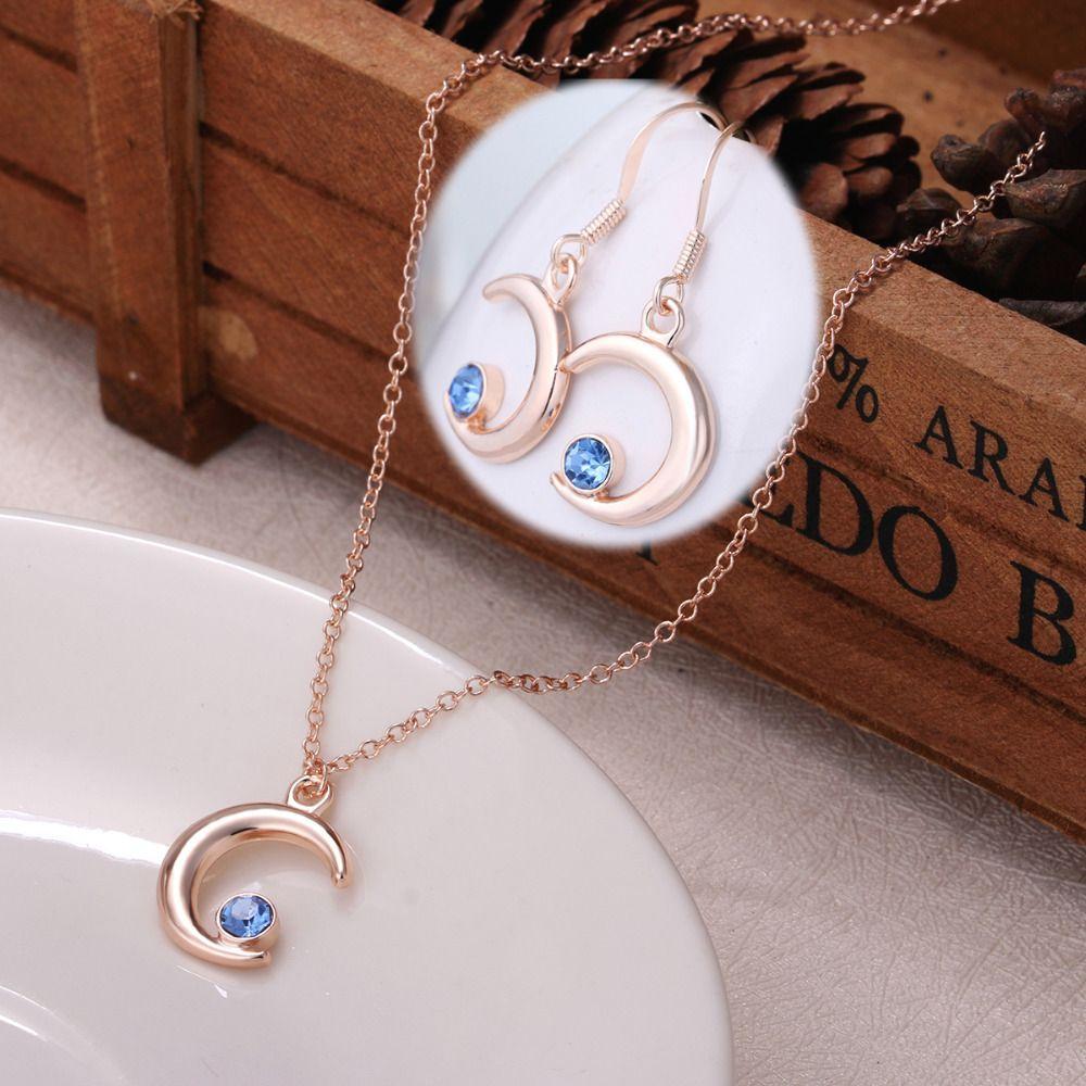 set of moon star necklace dangle earring setcheap fashion druzy