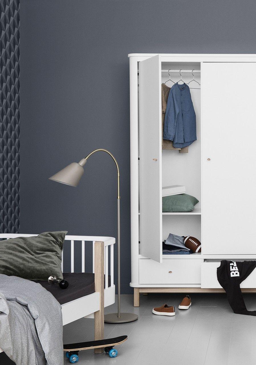 Oliver Furniture Kleiderschrank Wood 3 Türig Weiß Eiche Kleiderschrank Jugendzimmer Kleiderschrank Kinderzimmer Kinder Möbel
