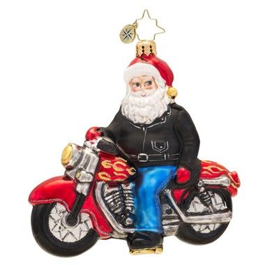 Christopher Radko Born to Be a Biker Santa Claus on Motorcycle